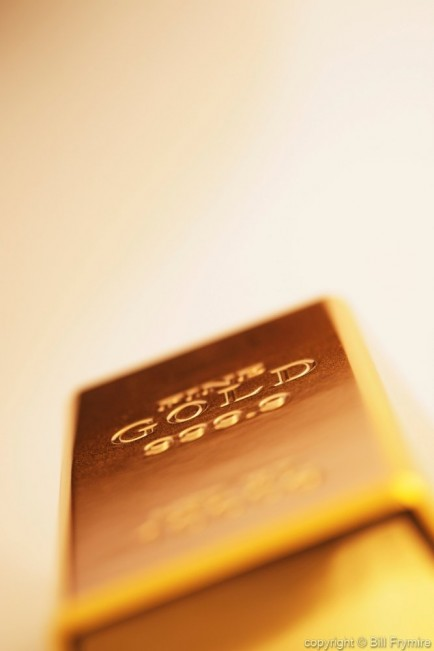 close-up of gold bar on angle