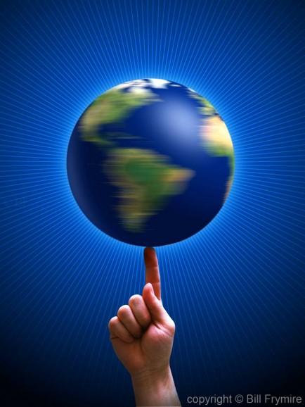 World balancing on finger