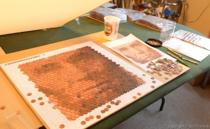 abraham lincoln in american pennies mosaic