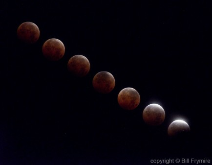 a photo time lapse of a lunar eclipse