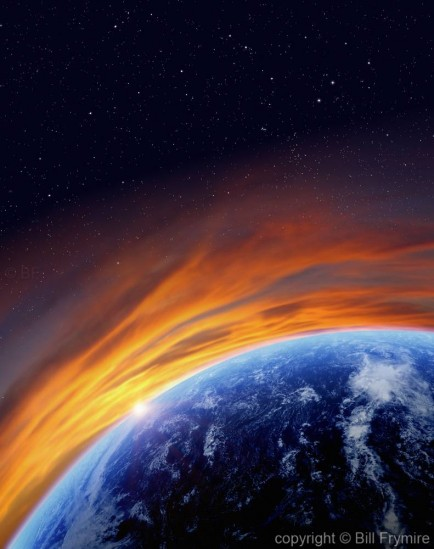 Earth from space with starry sku and sunrise
