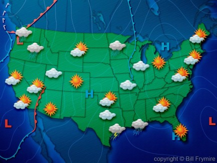 weather map of USA with weather symbols Bill Frymire