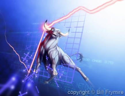 bull market graphic showiing a bull forcing up graph line