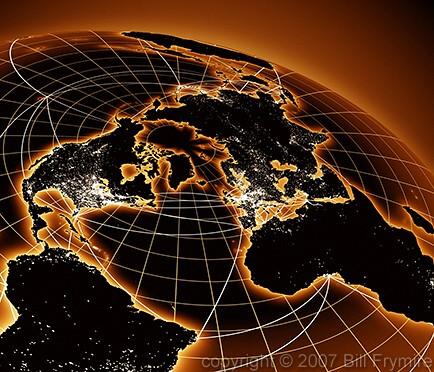 World Map At Night. world globe showing population