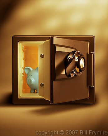 Piggy bank inside of combination safe