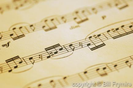 close-up photo of musical notes on sheet music