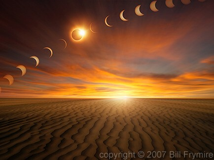 time lapse solar eclipse over a desert - computer generated