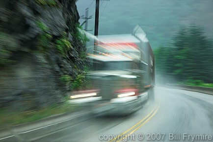 Passing truck - driving in bad weather