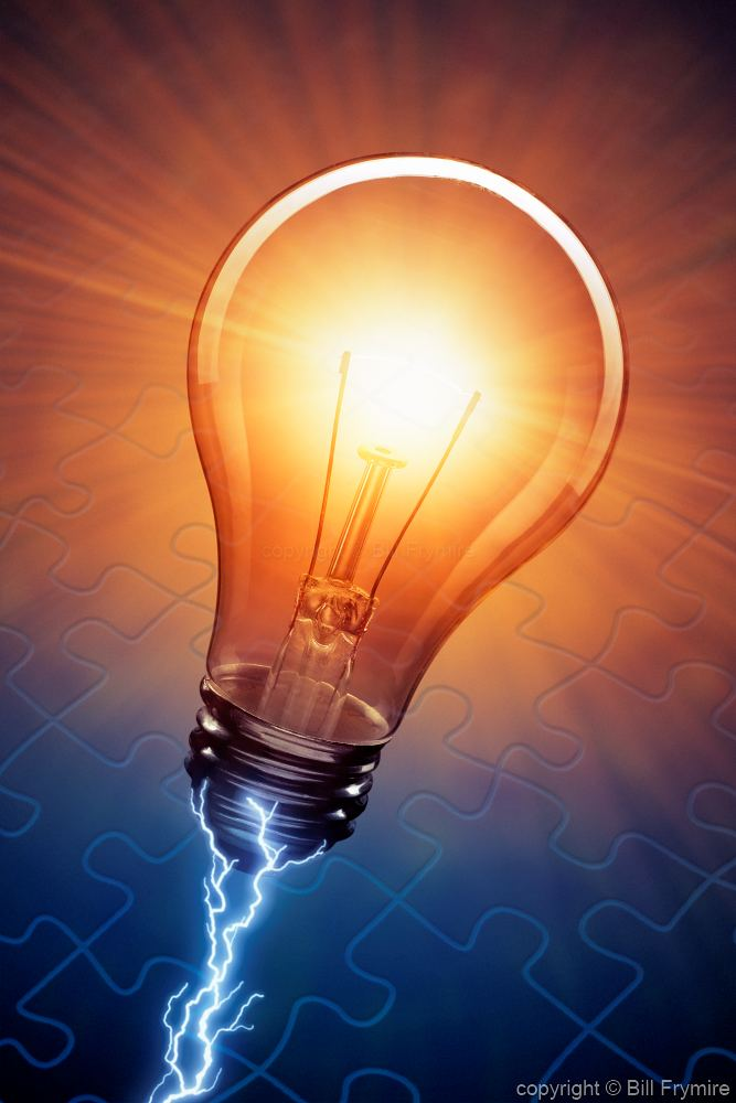 lightbulb with electricity and jigsaw puzzle