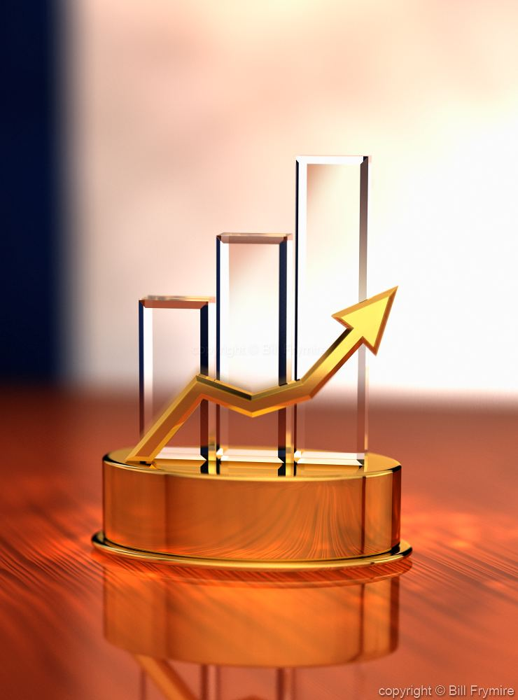 Chart Of Day >> 3D trophy with bar chart and rising line graph