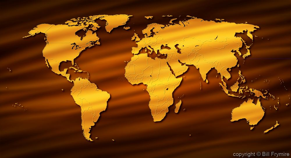 Gold world map on brown background gumiabroncs Images