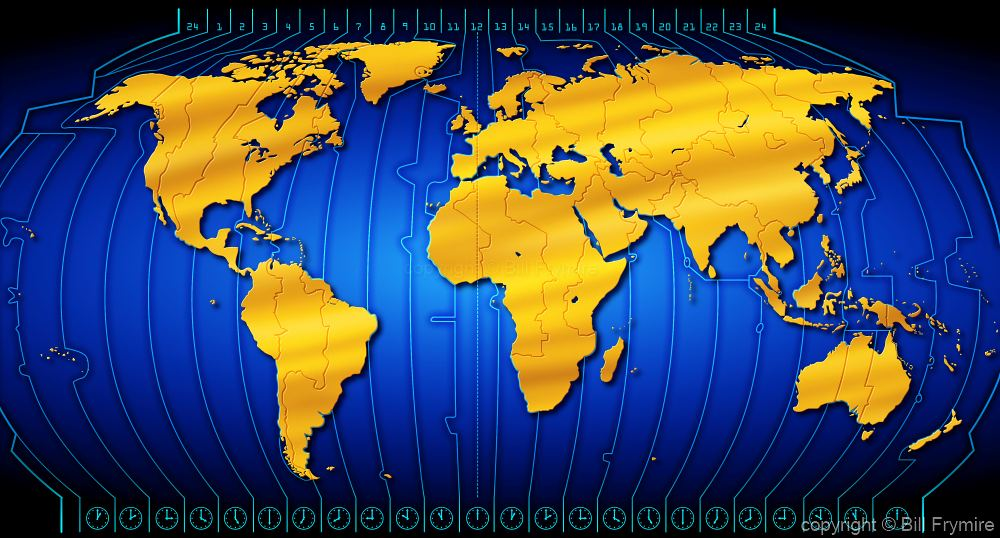 World map with blue time zone gold world map with blue time zone gumiabroncs Gallery